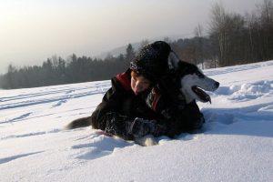 imagen de un husky siberiano marron abrazado a su mejor amigo en la montaña con nieve